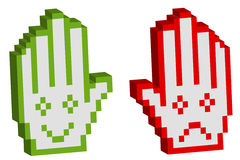 Two pixelated hand with smile. Illustration Royalty Free Stock Photos