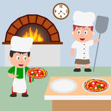 Two Pizza Chefs Cooking. Two pizza chef kids (boy and girl) cooking in a colorful kitchen of a pizzeria. Eps file available Royalty Free Stock Photo