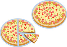 Two pizzas. One cut into half, quarter and an eighth Royalty Free Stock Images