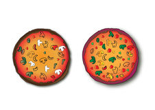 Two pizzas. On the table with white background stock illustration