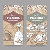 Two pizzeria labels with baker, oven and pizza on cardboard. Stock Images