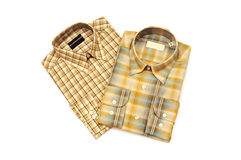 Two Plaid Shirts, isolated Royalty Free Stock Image