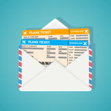 Two plane tickets in envelop. Royalty Free Stock Photo