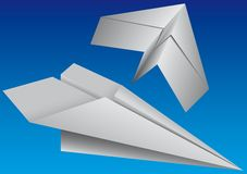 Two planes. Two toy paper planes on a background of the sky Royalty Free Stock Photography