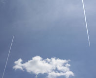 Two planes. And a cloud making geometry,abstract stock photography