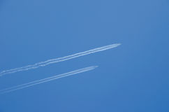 Two planes flying in parallel Stock Images
