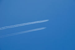 Two planes flying in parallel Royalty Free Stock Image