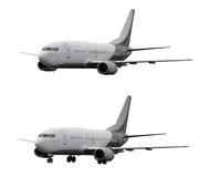 Two planes with and without landing gears Stock Photos