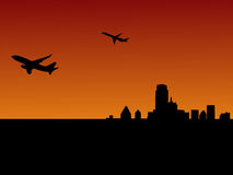 Two planes leaving Dallas. At sunset illustration Royalty Free Stock Image