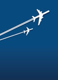 Two planes in the sky. Vector image of two planes in the sky Stock Images