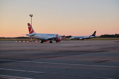 Two planes on tarmac. Czech Airlines and Ryanair planes on tarmac in Budapest Ferencz Liszt airport Stock Images