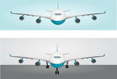 Two planes. Vector illustration of two planes, in the air and landing Royalty Free Stock Photos