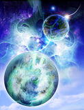Two planets. Very impressive fantastic space Royalty Free Stock Images