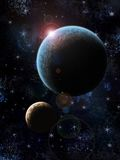 Two planets. With stras illustration Royalty Free Stock Photography