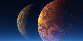Two planets. In the space vector illustration