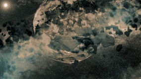 Two Planets - asteroid field stock footage