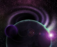 Two Planets Cosmic Background. Two Dark Planets Cosmic Background stock illustration