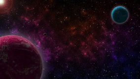 Two Planets. Pink and Blue fiction Planets with natural satellites, on colorful Universe Background Stock Image