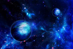 Two planets in space stock illustration