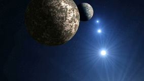 Two planets and UFOs stock footage