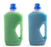 Two plastic bottles of cleaning liquid isolated on white background Stock Image