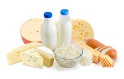 Milk and dairy products on a white background Royalty Free Stock Photography