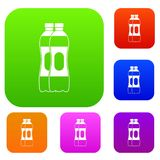 Two plastic bottles set collection. Two plastic bottles set icon in different colors isolated vector illustration. Premium collection Stock Images