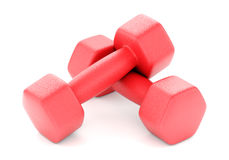 Two plastic coated dumbells. Two red plastic coated fitness dumbbells isolated on white background. 3D illustration Royalty Free Stock Photography