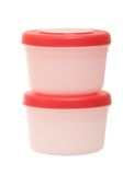 Two plastic containers on the white background Royalty Free Stock Photography