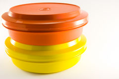 Two Plastic Food Containers. On a white background Royalty Free Stock Photos