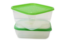 Two plastic food containers Royalty Free Stock Images