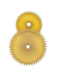 Two plastic gears yellow isolated on a white background. Royalty Free Stock Photos