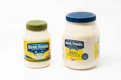 Two plastic jars of Best foods mayonnaise royalty free stock photo