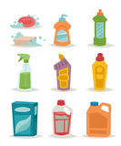 Two plastic spray cleanser bottle with cleaning liquid flat vector illustration. Royalty Free Stock Image
