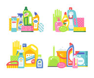 Two plastic spray cleanser bottle with cleaning liquid flat vector illustration. Stock Images