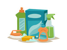Two plastic spray cleanser bottle with cleaning liquid flat vector illustration. Royalty Free Stock Images