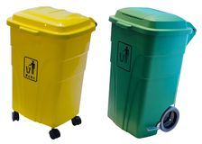 Two plastic trash. With wheels isolated on white Royalty Free Stock Photos