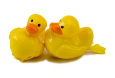 Two Plastic Wind-Up Ducks Isolated On White. Includes clipping path royalty free stock photo