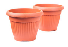 Two plastical pots for flovers isolated Royalty Free Stock Photography