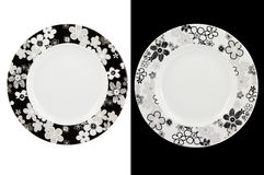 Two plates. Two empty plate with floral decoration stock image