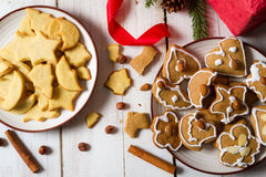 Two plates with different Christmas cookies stock photo