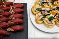 Two plates with snacks on a buffet table. Selection of tasty bruschetta or canapes on toasted baguette with potatoes herring fish,. Red onions. canapes with red Royalty Free Stock Photos