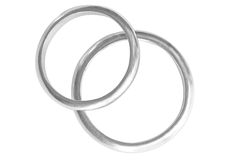 Two platinum Rings. Isolated on white background Stock Image