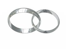 Two platinum wedding rings Royalty Free Stock Image