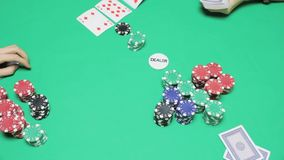 Two players play Texas poker. Full HD stock video