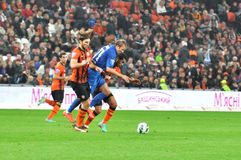 Two players Shakhtar opponent clamped Royalty Free Stock Photography