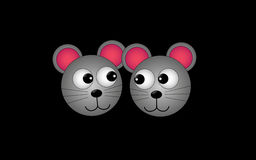 Two playful cartoon mouse. On a black background Stock Images