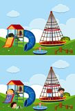Two playground scenes with and without children. Illustration Stock Photo