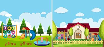 Two playground scenes at the park and school. Illustration Royalty Free Stock Photo