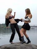 Two playing beautiful girls 1 Royalty Free Stock Image